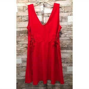 Xhiliration Red Dress with Lace Details on Sides